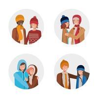 grupo de jovens com roupas de inverno vetor