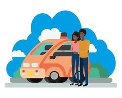 jovem casal afro com cena de carro inteligente vetor