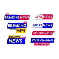 notícias de última hora, streaming ao vivo, notícias de última hora ao vivo, notícias quentes ao vivo streaming ilustração vetorial de modelo vetor