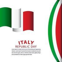 ilustração de design de modelo de vetor de celebração do dia da república feliz itália