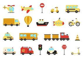 conjunto de meios de transporte bonitos dos desenhos animados. ilustrações vetoriais.