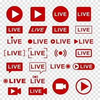 conjunto de ícones de transmissão ao vivo vetor