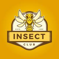 Logotipo liso da mascote da abelha do inseto com ilustração moderna do vetor do molde do crachá