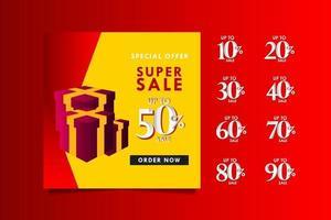 super venda com desconto de até 50 na oferta especial, solicite agora ilustração de design de modelo vetorial vetor