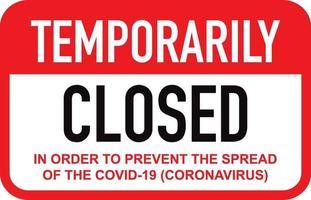 escritório temporariamente fechado para sinal de coronavírus vetor
