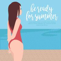 Vetorial, praia, vagabundo, ilustração