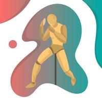 Figura de manequim posando detalhe pronto para lutar com ilustração em vetor fundo gradiente