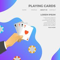 Cartas de jogar minimalistas modernas jogo com ilustração em vetor fundo gradiente