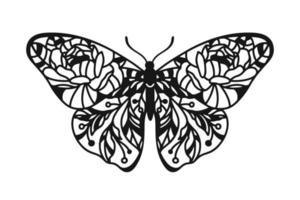 borboleta floral. borboleta com ornamento. vetor