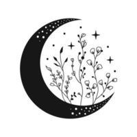 lua de vetor com flores silvestres. lua floral.