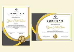modelo de certificado com padrão luxuoso e moderno, diploma, certificado com crachá e borda vetor