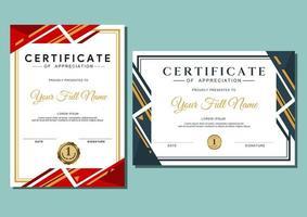 modelo de certificado com padrão luxuoso e moderno, diploma, certificado de modelo de design de prêmio de conquista vetor