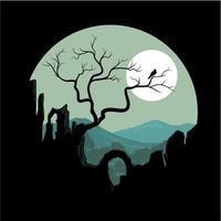 ilustração em vetor de uma arte de colinas de silhueta
