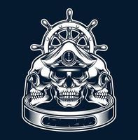 crânio marinho e roda de navio