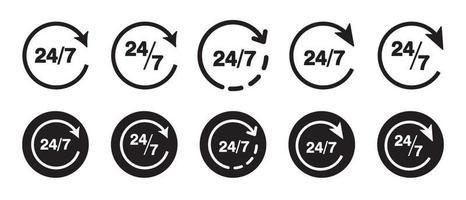 Conjunto de design de ícones 24 horas por dia, 7 dias por semana vetor