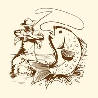 Voar, pescador, ilustração vetor