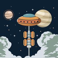Ilustração de elevador de espaço vetor