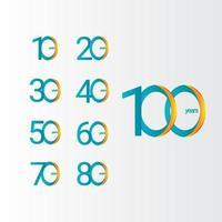 100 anos de comemoração de aniversário gradiente ilustração vetorial de design de modelo vetor