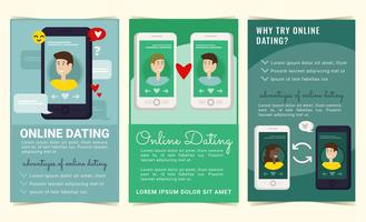 Vector Online Dating Folhetos