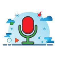 ilustração do gravador de voz. ícone de vetor plano