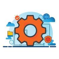 configuração de ilustração. ícone de vetor plana. pode usar para, elemento de design de ícone, interface do usuário, web, aplicativo móvel.