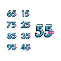 Ilustração de design de modelo vetorial 55 anos de comemoração de aniversário vetor