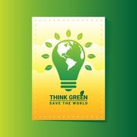 Pense o molde verde do projeto do cartaz vetor