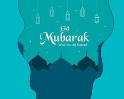 eid mubarak em estilo de papel vetor