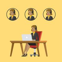 Personagem de mulher de serviço ao cliente vetor