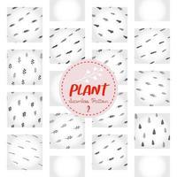 padrão de planta, papel digital de doodle de árvore desenhada à mão em preto e branco, fundo de repetição de plantas abstratas, papel de parede de vetor de erva monocromática, elemento decorativo de arbusto fofo