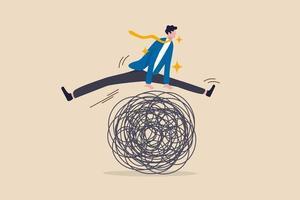 empresário pulando uma encrenca metáfora da crise empresarial