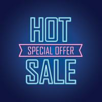 Sinal de venda de néon brilhante vetor