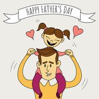 Pai fofo com filha sorrindo vetor