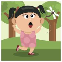 Uma garota perseguindo libélula vetor
