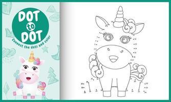conecte o jogo de pontos para crianças e página para colorir com uma ilustração de personagem fofa de unicórnio vetor