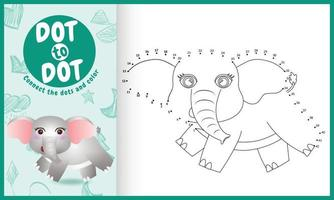 Conecte o jogo de pontos para crianças e a página para colorir com uma ilustração de um elefante fofo vetor
