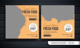 folheto ou banner de mídia social para venda de menu fresco vetor