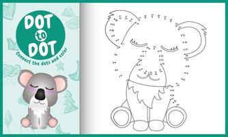 Conecte o jogo de pontos para crianças e a página para colorir com uma ilustração de um coala bonito vetor