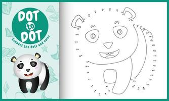 Conecte o jogo de pontos para crianças e página para colorir com uma ilustração do personagem panda bonito vetor