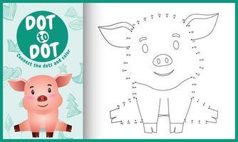 conecte o jogo de pontos para crianças e a página para colorir com uma ilustração de personagem fofa de porco vetor