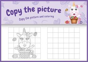 copie o jogo de imagem para crianças e a página para colorir com o tema Páscoa com um unicórnio fofo e um ovo de balde vetor