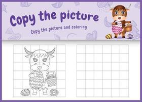 copie o jogo de crianças de imagem e página para colorir com tema de Páscoa com um búfalo fofo segurando o ovo de balde e o ovo de Páscoa vetor