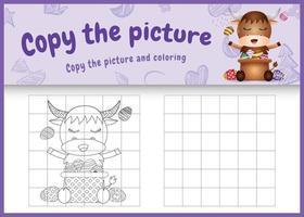 copie o jogo de crianças de imagem e página para colorir com tema de Páscoa com um búfalo fofo e ovo de balde vetor