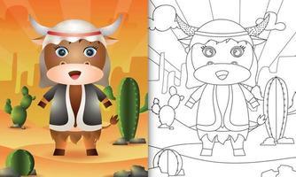 livro de colorir para crianças com o tema Ramadã com um búfalo fofo usando traje tradicional árabe vetor