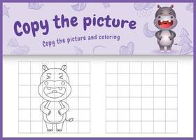 copie o jogo de imagem para crianças e a página para colorir com uma ilustração de um hipopótamo fofo vetor