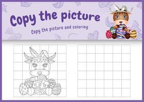 copie o jogo de imagens para crianças e a página para colorir com o tema da Páscoa com um búfalo fofo usando tiaras com orelhas de coelho abraçando ovos vetor
