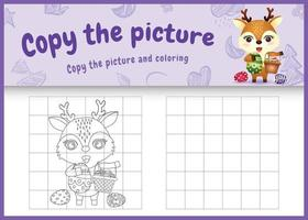 copie a imagem do jogo infantil e a página para colorir com o tema Páscoa com um cervo fofo segurando o ovo de balde vetor