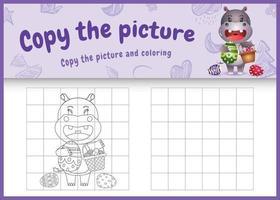 copie a imagem do jogo infantil e a página para colorir com o tema Páscoa com um hipopótamo fofo segurando o ovo de balde vetor