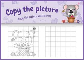copie o jogo de imagens para crianças e a página para colorir com o tema da Páscoa com um coala fofo e um ovo de balde vetor