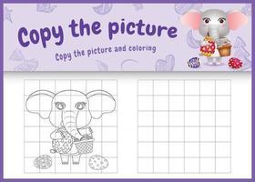 copie a imagem do jogo infantil e a página para colorir com o tema Páscoa com um elefante fofo segurando o ovo de balde e o ovo de Páscoa vetor